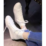 White Lace Up Hidden Wedges Sneakers Shoes