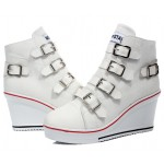 White Canvas Buckles Straps Platforms Wedges Sneakers Shoes