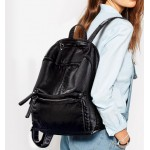 Black Soft Lambskin Vintage School Punk Rock Backpack