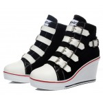 Black Canvas Buckles Straps Platforms Wedges Sneakers Shoes