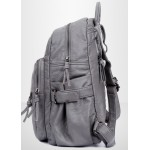 Grey Soft Lambskin Punk Rock Casual Vintage School Backpack