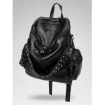 Black Blunt Studs Soft Lambskin Vintage School Punk Rock Hobo Bag Rider Backpack