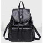 Black Soft Lambskin Vintage School Backpack