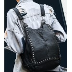 Grey Square Studs Soft Lambskin Vintage School Punk Rock Hobo Bag Backpack