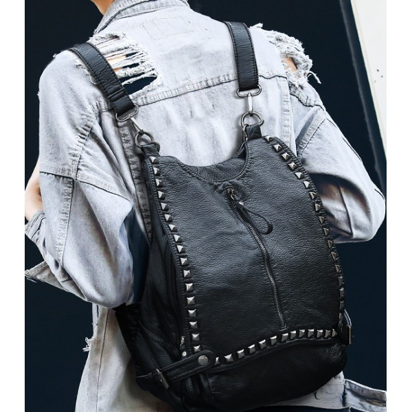 Black Square Studs Soft Lambskin Vintage School Punk Rock Hobo Bag Backpack