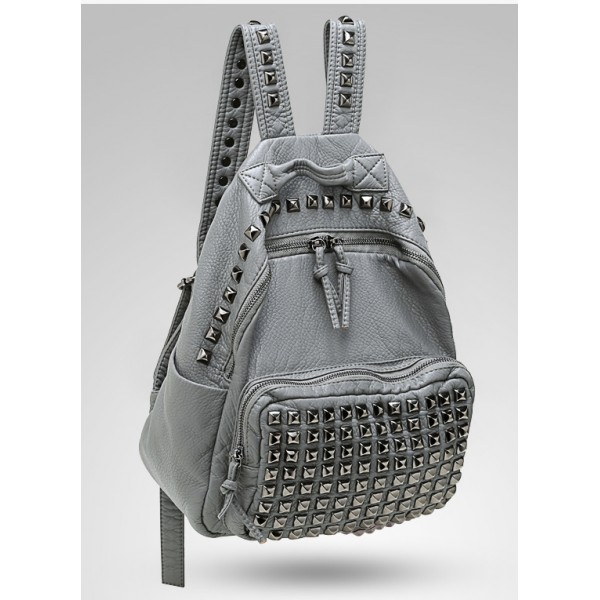 Grey Square Studs Soft Lambskin Vintage School Punk Rock Bag Rider Backpack