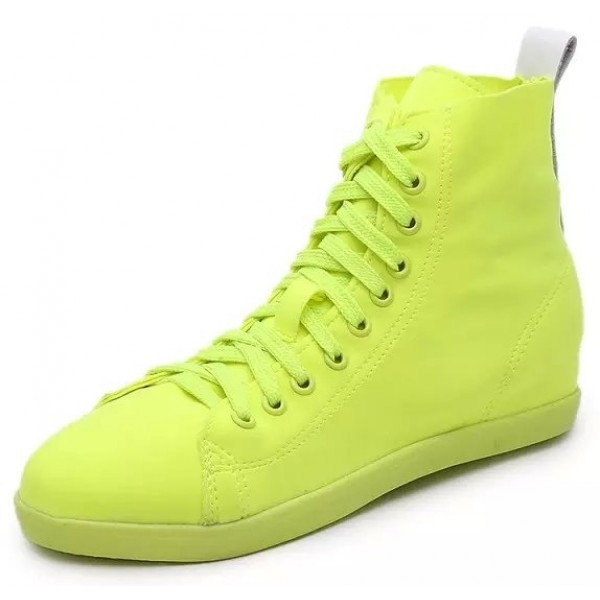 Lime Yellow Shocking Neon Lace Up Hidden Wedges Sneakers Shoes