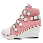 Pink Canvas Buckles Straps Platforms Wedges Sneakers Shoes