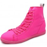 Pink Fushia Shocking Neon Lace Up Hidden Wedges Sneakers Shoes