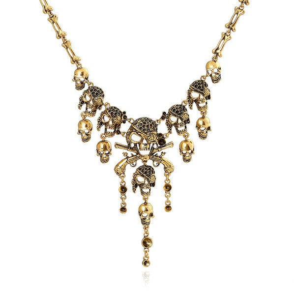 Gold Pirates Skulls Bones Skeleton Punk Rock Necklace