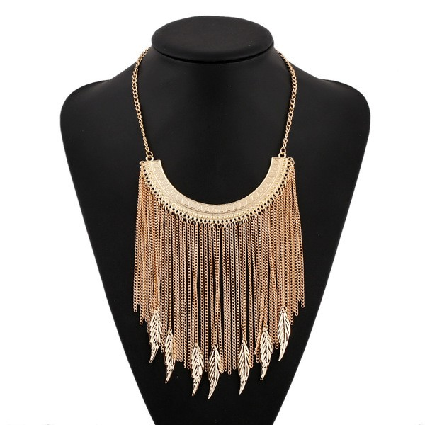 Gold Bohemian Long Multi Chain Tassels Leaves Punk Rock Necklace