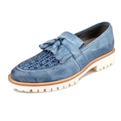Blue White Knitted Leather Tassels Platforms Mens Oxfords Loafers Dress Shoes
