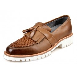 Brown White Knitted Leather Tassels Platforms Mens Oxfords Loafers Dress Shoes