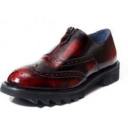 Burgundy Vintage Zipper Platforms Mens Cleated Sole Oxfords Loafers Dress Shoes