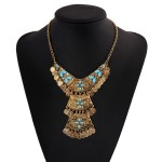 Gold Vintage Blue Stones Tribal Bohemian Ethnic Necklace