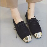 Black Gold Metal Blunt Head Suede Lace Up Oxfords Flats Shoes