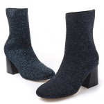 Blue Glitter Blunt Head Stretchy Pull On High Heels Boots Shoes