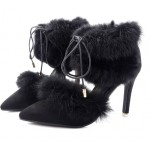 Black Suede Rabbit Fur Pom Pointed Head High Heels Stiletto Shoes