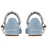 Blue Patent Diamonte Crystals Mary Jane Ballets Ballerina Flats Shoes