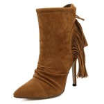 Brown Suede Tassels Fringes High Stiletto Heels Boots Shoes