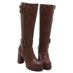 Brown Vintage Combat Rider Long High Heels Boots Shoes