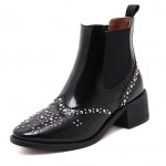 Black Beads Crystals Chelsea Vintage  Ankle Boots Shoes