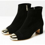 Black Gold Metal Blunt Head Suede High Heels Ankle Boots Shoes
