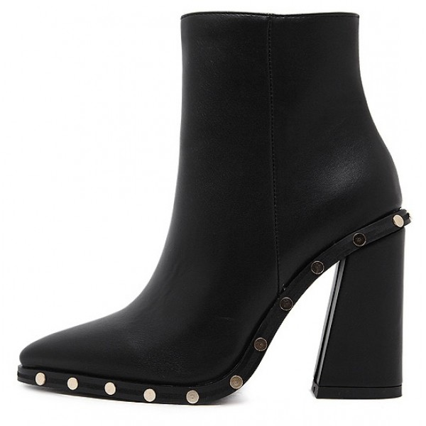 Black Gold Round Studs Pointed Head High Heels Ankle Boots Shoes