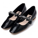 Black Patent Blunt Head Metal Chain Mary Jane Ballets Ballerina Flats Shoes