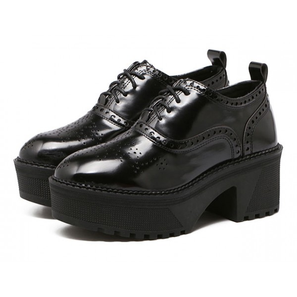 Black Patent Lace Up Plafroms Oxfrods Old School Shoes