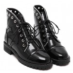Black Patent Zipper Studs Lace Up Combat Military Punk Rock Boots Shoes