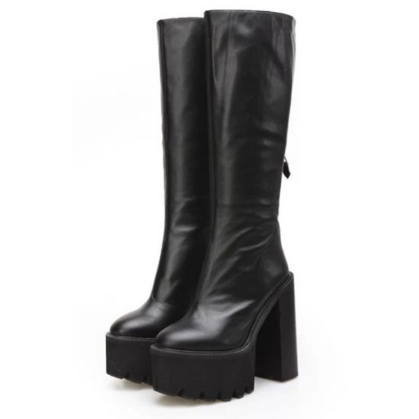 Black Platforms Chunky Cleated Combat Rider High Heels Long Boots Shoes