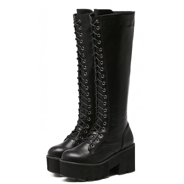 Black Platforms Chunky Lace Up Combat Rider Long Boots Shoes
