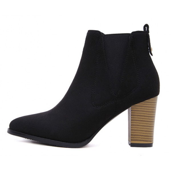 Black Pointed Head High Heels Ankle Chelsea Shoes Boots