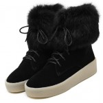 Black Rabbit Fur Lace Up High Top Sneakers Shoes