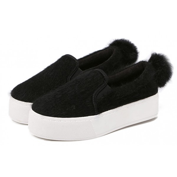 Black Rabbit Fur Pom Sneakers Loafers Flats Shoes