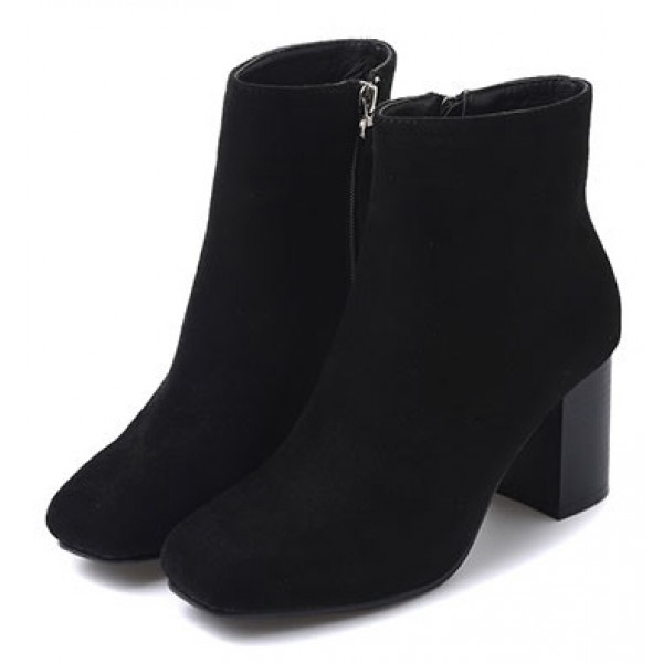 Black Suede Blunt Head High Heels Cuban Ankle Boots Shoes