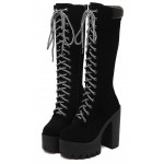Black Suede Lace Up Combat Rider Platforms Chunky Long High Heels Boots Shoes