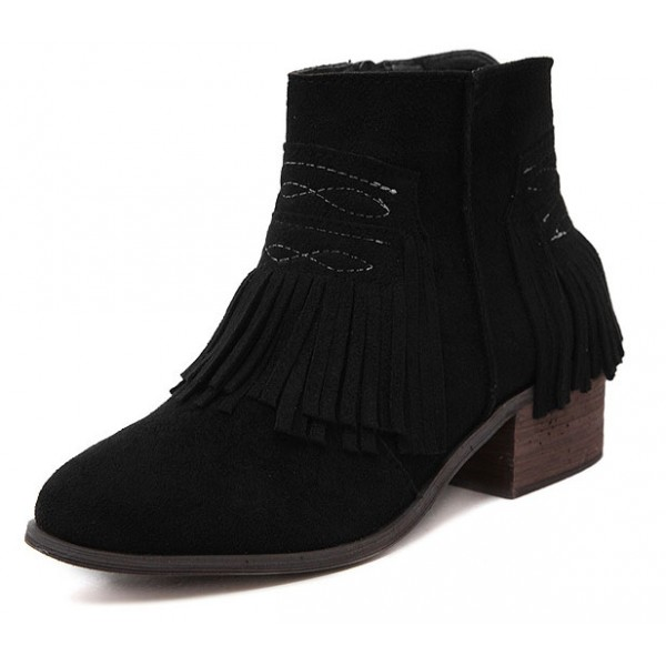 Black Suede Tassels Fringes Ankle Chelsea Boots Shoes