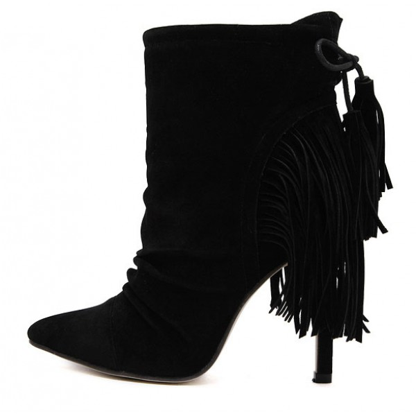 Black Suede Tassels Fringes High Stiletto Heels Boots Shoes