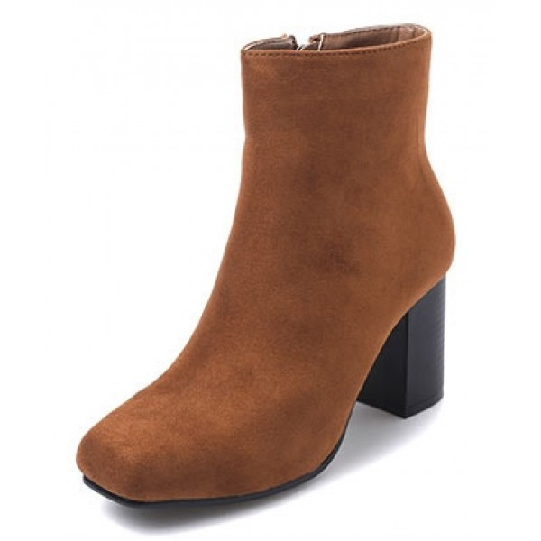 Brown Suede Blunt Head High Heels Cuban Ankle Boots Shoes
