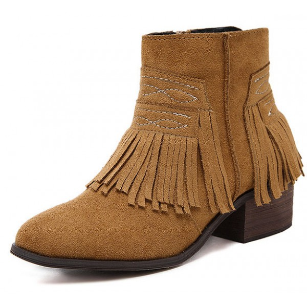 Brown Suede Tassels Fringes Ankle Chelsea Boots Shoes