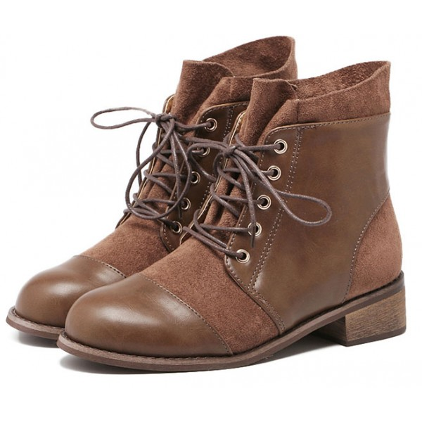 Brown Vintage Combat Military Boots Shoes