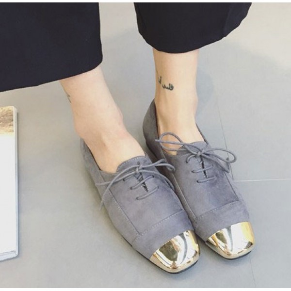 Grey Gold Metal Blunt Head Suede Lace Up Oxfords Flats Shoes