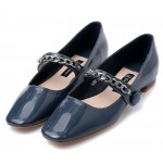 Grey Patent Blunt Head Metal Chain Mary Jane Ballets Ballerina Flats Shoes