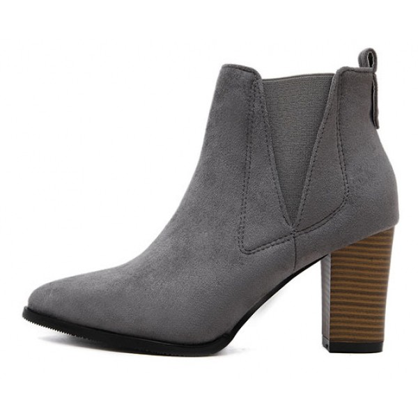 Grey Pointed Head High Heels Ankle Chelsea Shoes Boots