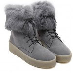 Grey Rabbit Fur Lace Up High Top Sneakers Shoes
