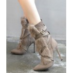 Khaki Suede Rabbit Fur Belt Long Rider High Stiletto Heels Boots