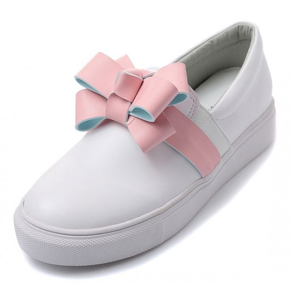 White Pink Gift Bow Cute Sneakers Loafers Flats Shoes