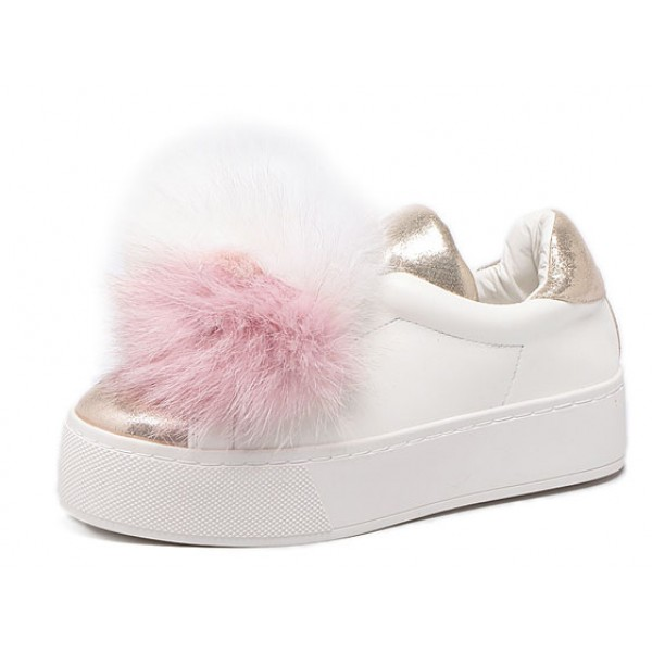White Pink Rabbit Fur Giant Pom Cute Sneakers Loafers Flats Shoes